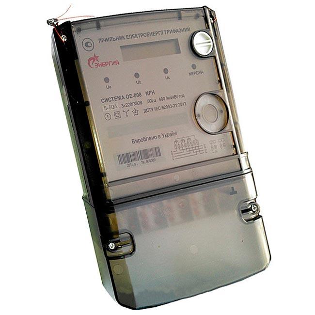 Трехфазный однотарифный электросчетчик Система ОЕ 008