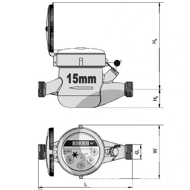 Размеры счетчика воды Ду-15