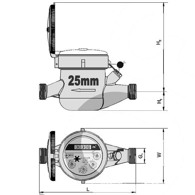 Размеры счетчика воды Ду-25