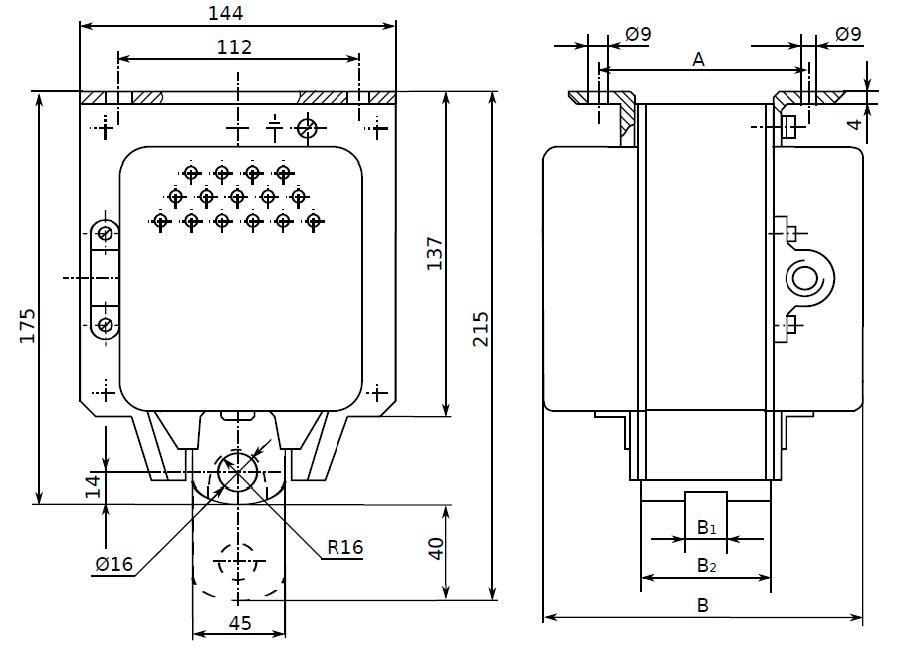 Габаритные и установочные размеры электромагнитов ЭД 10102